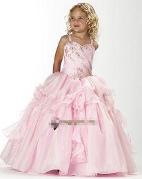 Fashionable children's wear pink flowers wedding bridesmaid PROM dress custom size 2 4 6 8 10 12 14