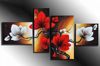 Wholesale hand painted wall art White flowers red the wind landscape oil paintings on canvas set Framed