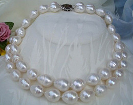 Genuine NaturalL pearls jewelry 2rows STRANDS SOUTH SEA 12-13MM WHITE PEARL NECKLACE VERY GOOD LUSTE