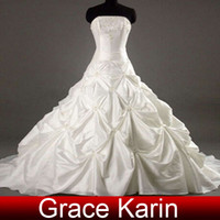 Wholesale Inexpensive sexy strapless floor length chapel train Taffeta wedding dress CL2524
