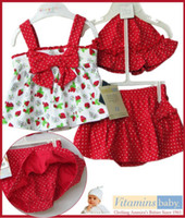 Wholesale Children s Outfits Sets Baby Kids Clothing Lovely bowknot strawberry sleeveless top skirt cap suit