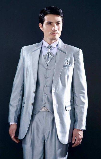 Silver Groom Suit Jacket,Vest,Pants,Tie Set Yzs168 Custom Groom ...