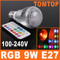Wholesale 9W AC V E27 LED RGB Light Bulb Colorful Million Colors table Lamp Remote Control H8098