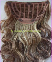 Wholesale 16 quot One Piece Human Hair clip in extension Blonde Brown remy indian hair made Body Wave