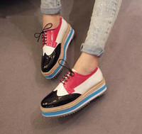 Wholesale 2012 block colors stripes platform oxford shoes ladies casual shoes colors