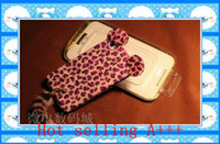 Yes Plastic For Apple iPhone Leopard grain bear Plush tail lamorous cute case cover for iphone 4 4s charger 30pcs