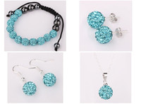 Wholesale Retail mm Disco ball jewelry suite earrings necklace bracelet set