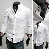 Wholesale 2012 new New Mens Casual Slim Fit Stylish Dress Shirts long sleeved shirts Inside silk fabrics