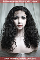 Indian hair indian remy curly full lace wigs - 18inch b black curly beautiful full lace wig with thin skin human Indian indic remy wigs