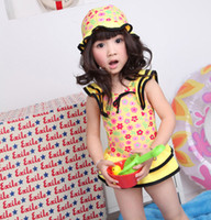 One-piece EI120317007 10pcs/lot 2012 Yellow Bathing Suit Hat+Bikini Skirt 2-7Y Sample Supported Girl Bathing Suit 10Pcs lot Swimwear