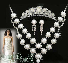Wholesale Wedding Crystal Pearl Necklace Crown Earring Wedding Bridal Jewelry Sets bridal three piece SJF023