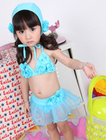 Wholesale Baby Girl Blue Swimwear Bikini Y Baby Girl Swim Skirt Hat Lace Tutu Sample Supported