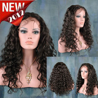 swiss lace wig - Hot quot Glueless Cap Deep Wave Darkest Brown Indian Remy Human Hair Swiss Lace Front Wigs LFWC03