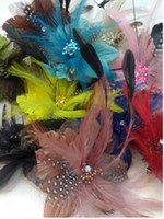 Wholesale Brand new cm length feather head flower headdress wedding brooch pin hair extension bouquet accessories