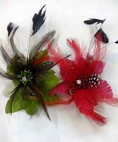 american headwear - 12cm Length Feather Head Flower Headdress Wedding Brooch Pin Hair Extension Bouquet Accessories Flower feather clips headwear