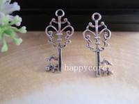 Chirstmas antique key - Antique Silver flower Key Pendant charm mmx36mm