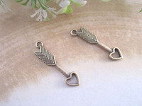 Wholesale Antique bronze Love arrow charm Pendant mmx27mm