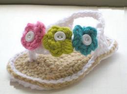 Wholesale Crochet baby shoes double sole elastic infant sandals M cotton pairs custom sk