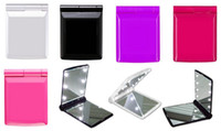 Wholesale Mini Portable Girl Compact Hand Makeup Pocket Mirror with Led Light