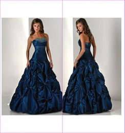 Wholesale Stunning Dark Blue A Line Strapless Ruffles Sequin Crystal Floor Length Quinceanera Dresses Gowns A2