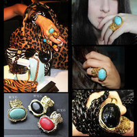 Cluster Rings Mexican Men's The Ring Vintage Gold Plated Gemstone Ring with Blue Black Red Stone Rings Free Shipping