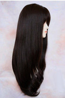 Wholesale Extra Long Human Hair Blend Heat Safe Dark Brown Wig