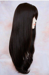 Wholesale Extra Long Human Hair Blend Heat Safe Dark Brown Wig