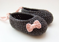 Spring / Autumn ballerina baby shoes - Crochet baby girl ballet shoes handmade infant ballerina shoes bow lace up M cotton yarn pairs