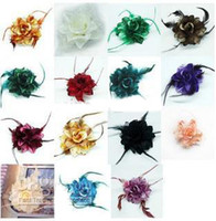 feather Multi-Color Hair Clips Big Silk Flower Brooch Fashion Feather Hairpin Head Clip Tire Hair Circle 50pcs lot Multi Colors