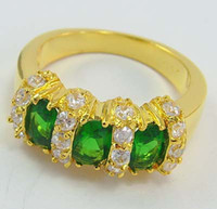 Wholesale NEW Amazing ct Woman s Emerald gemstone ring kt mark yellow Gold rings MB