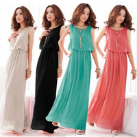 Wholesale 2012 elegant romantic ladies pure colors chiffon long dress colors size S M L
