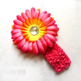 Wholesale New double color daisies Gerber With Headband baby hair bows girl s hair clips flowers Flower gvfd