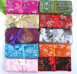 Personalized Jewelry Roll Up Travel Bags Storage Case Gift Bag Chinese Silk Fabric Zipper Drawstring Ladies Makeup Cosmetic Pouch Wholesale