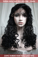 Wholesale 10 quot quot jet black curly full lace wig with thin skin indian remy human hair