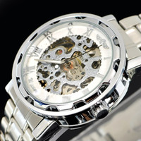 Wholesale 1pcs silver polished men s watch white hollow face watch luxury Mechanical watches