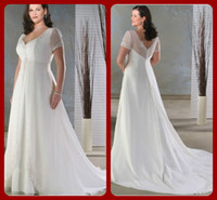 Wholesale Chiffon V shaped Neckline Short Sleeve Appliqued and Beaded Trim Plus Size Wedding Dress Bridal