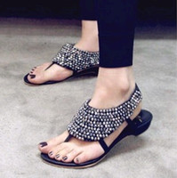 Wholesale newest women s lady s fashion Colored flowers diamond Roman flat folder toe sandals beaded shoes
