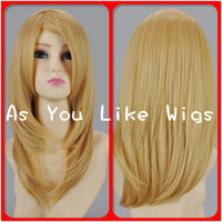 African-American Wigs Blonde 50CM Fashion Brand New 50CM Blonde Heat Resistant Medium Anime Cosplay Costume Party Hair Full Wig M5