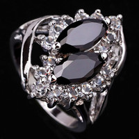 Women's Gift 8 Bling Twin Stones Lady Bao Black Onyx Cocktail Size 8 Ring Silver-tone Wedding Anniversary JF0492