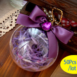 50 Pcs Clear Crystal Ball gift box, candy boxes with Purple Ribbon Bow decoration, wedding package