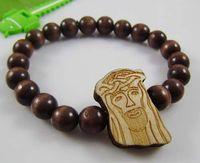 Celtic Men's Party Jesus piece Bracelets HipHop GOODWOOD NYC Natural Good Wood Style Bracelet Adjustable Macrame With 10mm Beads