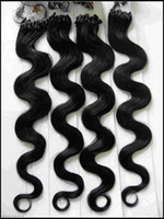 Wholesale Micro Ring Indian Hair Extensions quot g strand g set Body Wave Wavy Bellahair DHL