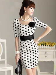 Wholesale Promotion Half Sleeve With Bowknot Black Dot White Women s Fashion Dresses Square Neck Casual Dress