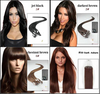 Wholesale Micro Ring Brazilian Hair Extension quot g strand g set Straight In Stock