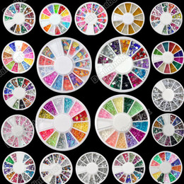 Wholesale New Wheel Mixed Nail Art Tips Rhinestones Glitters Slice Decoration Manicure