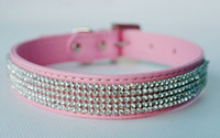 Wholesale Hot selling Rhinestone diamante dog collars pink fashion PU leather jewelry Pet collar