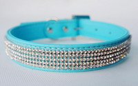 Wholesale 7 inch four colors Bling Diamante Pet Cat Collars Puppy Leather Dog Collars with Rhineston Buckles