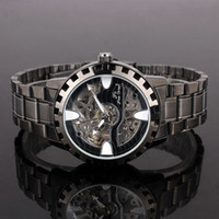 Sport watch faces - Black Paint Bracelet Gear Mech Black Face Mens Mechanical Watch Water Resist NT7337