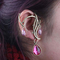 Wholesale Gothic Punk Fashion Flower Carving Ear Cuff Earrings COOL Retro Style with crystal pendant