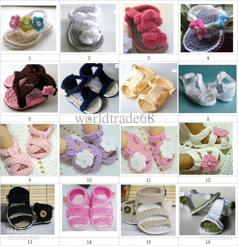Детское вязание крючком обувь двойная подошва эластичная детские сандалии 0-12M хлопок 28pairs/много